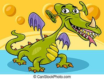 monster or dragon cartoon - Cartoon Illustration of Funny...