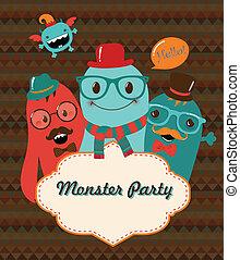 Monster Party Card Design. Vector Illustration - Monster...