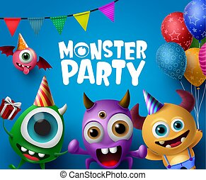 Monster party design vector concept. Cute scary monster characters in monster party.