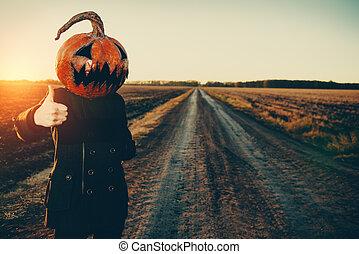 monster pumpkin head