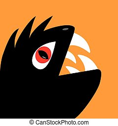 Monster reptile head silhouette with red devil eye, big fang tooth. Cute cartoon funny character. Black color. Baby collection. Isolated. Happy Halloween card. Flat design. Orange background.
