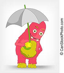 monster., rigolote, parapluie, sous