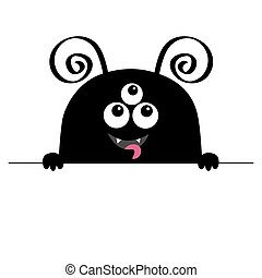 Monster scary face head icon. Hands paw holding line. Horns, fang, tongue. Cute cartoon boo spooky character. Black silhouette. Kawaii funny baby. Happy Halloween. Flat design. White background
