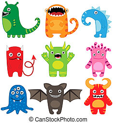 Monster set - Set of different cute funny cartoon monsters
