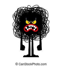 monster., signe., illustration, vecteur, noir, haine, hater