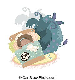 Monster sits at bed and frightened girl. Vector illustration