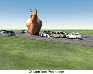 Monster Snail On The Road