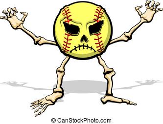 Monster Softball - Softball as a cartoon skeleton for...