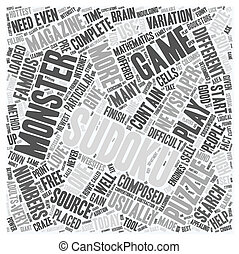 monster sudoku text background wordcloud concept