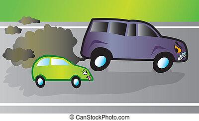 Monster SUV - SUV overtaking a smaller fuel efficient car....