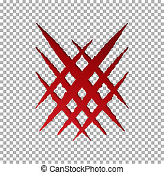 Monster tear claw scratch, cross mark. Llion break paper isolated on transparent background. Red Cla