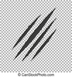 Monster tear claw scratch mark. Llion break paper isolated on transparent background. Black Claws sc