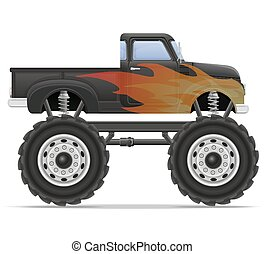 monster truck car pickup vector illustration