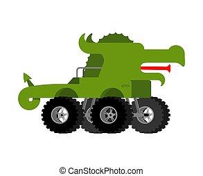 Monster Truck Dragon. Cartoon car animal on big wheels. vector illustration