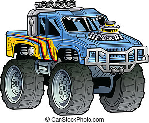 Monster Truck - Cartoon Illustration of a Monster Truck