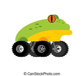 Monster Truck frog. Cartoon car animal on big wheels. vector illustration