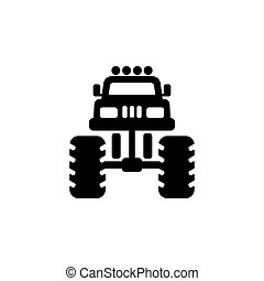 Monster truck icon front view.