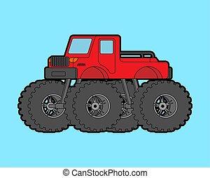 Monster Truck isolated. car on big wheels. vector illustration