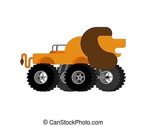 Monster Truck lion. Cartoon car animal on big wheels. vector illustration