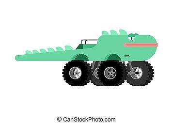 Monster Truck lizard. Cartoon car animal on big wheels. vector illustration