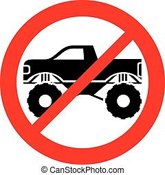 monster truck not allowed sign (prohibition icon)