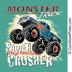 monster truck power crusher - monster truck vector for...