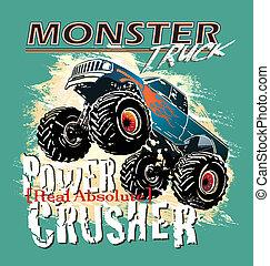 monster truck power crusher - monster truck vector for...