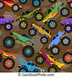 Monster truck show vector cartoon vehicle or car and extreme transport illustration set of heavy monstertruck with large wheels background