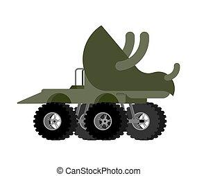 Monster Truck triceratops. Cartoon car dino on big wheels. vector illustration