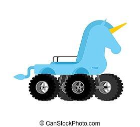 Monster Truck unicorn. Cartoon car animal on big wheels. vector illustration