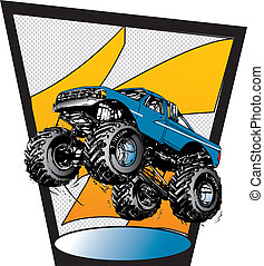 Monster Truck Vector - monster truck competing, jumping,...
