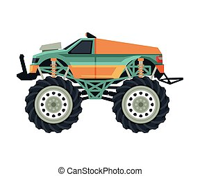 Monster Truck Vehicle, Heavy Car with Large Tires Vector Illustration