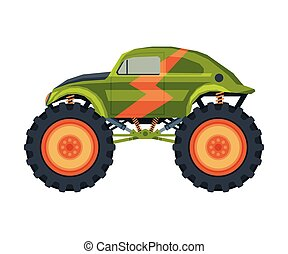 Monster Truck Vehicle, Heavy Retro Car with Large Tires Vector Illustration