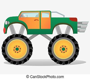 Monster truck with big wheels. Car vehicle in green and orange.
