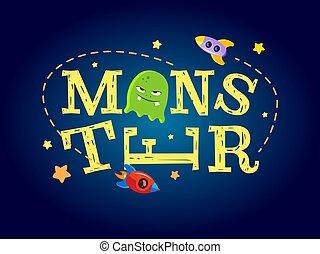 Monster typography design. T-shirt graphics for kids