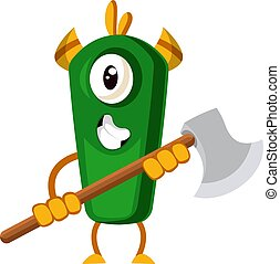 Monster with axe, illustration, vector on white background.
