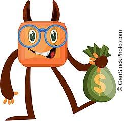 Monster with bag of money, illustration, vector on white background.