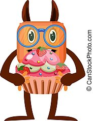 Monster with cake, illustration, vector on white background.