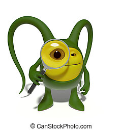 Monster with magnifying glass - 3d image. The funniest...