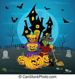 Monster with pumpkin in Halloween night