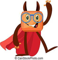 Monster with red cape, illustration, vector on white background.