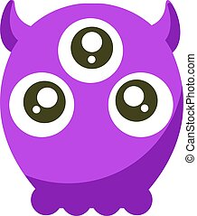 Monster with three eyes, illustration, vector on white background