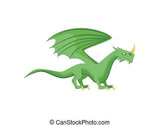 monster., wohnung, phantastisch, mythisch, feuerdrachen, groß, hell, vektor, grün, tier, ansicht., horn, nase, flügeln, seite