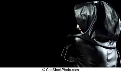 Monster woman in black hood - Footage of beating and...