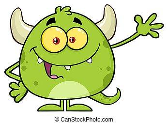monster, zeichen, gruß, winkende , emoji, karikatur, glücklich