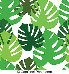Monstera floral leaves pattern - Floral seamless pattern....