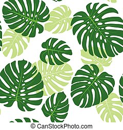 Monstera leaves background - Seamless pattern with tropical ...