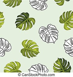 Monstera leaves. Seamless pattern