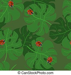 Monstera leaves seamless pattern with ladybugs. Vector texture of tropical leaves.
