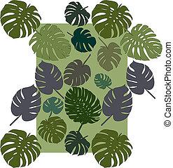 monstera pattern vector decorative tropical foliage textile